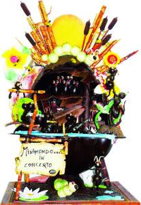 """La scultura di cioccolato con cui Luca  Spreca ha vinto il concorso """"Mastro Pasticcere"""" (ingradisci la foto)"""