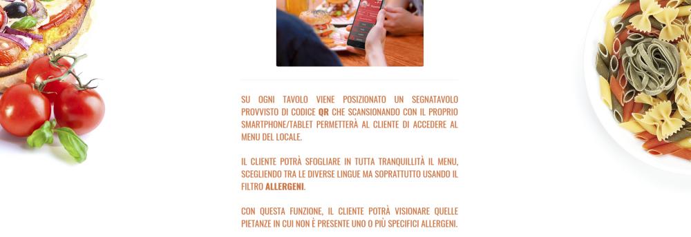 food menu per allergeni